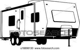 Clipart Of Automobile Camper Motorhome Recreation