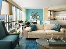 light blue living room walls with isamu noguchi coffee table and