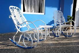 free photo rocking chair blue white iron free image on