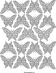 Detailed Butterflies Design Coloring Page Free For Non Commercial Use Credit Leehansen