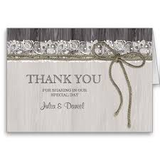 Rustic Thank You Card With Lace And Twine