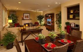 Round Shaped Recessed Lighting Ideas For Classic Living Room Plan Combined With Elegant Dining Design Using Beige Wall Color