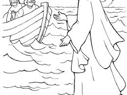 Bible Story Coloring Pages Jesus Walks On The Water