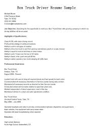 Truck Driver Resume Example With No Experience