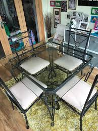 Wrought Iron & Glass Dining Room Table With 4 Chairs   In Southend-on ... Wrought Iron Childs Round Chair For Flower Pot Vulcanlirik 38 New Stocks Ding Table Ideas Thrghout Shop Somette Glass Top Free Pin By Annora On Home Interior Room Table Nterpieces Arthur Umanoff Set 4 Chairs Abt Modern Room White And Cast Patio Oval Nice Coffee Sets Pub In Ding Jeanleverthoodcom 45 Detail 3 Piece Stampler Small Best Base Luxury