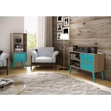 Brown And Aqua Living Room Pictures by Manhattan Comfort Sami Oak U0026 Aqua Storage Open Bookcase 2amc126