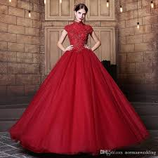 Dark Red Vintage Wedding Dresses 2017 High Neck Beading Applique Cap Sleeves Ball Gown Dress Tulle Illusion Bridal Gowns Custom Made Weddingdress
