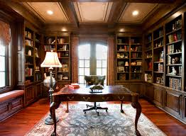 Rustic Style Home Office Library Interior Ideas With Classic Wooden Table And Built In Wall Book Shelves Plus Modern Swivel Chair