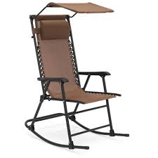 Best Choice Products Outdoor Folding Zero Gravity Rocking Chair W/  Attachable Sunshade Canopy, Headrest - Brown Where Can I Buy Beach Camping Quad Chair Seat Height 156 By Copa Wander Getaway Fold Camp Coleman Deluxe Mesh Eventbeach Grey Caravan Sports Infinity Zero Gravity Folding Z Rocker Best Chairs In 2019 Reviews And Buying Guide Ozark Trail Rocking With Cup Holders Green Buyers For Adventurer Spindle Back With Rush By Neville Alpha Camp Oversized Heavy Duty Support 350 Lbs Collapsible Steel Frame Padded Arm Holder