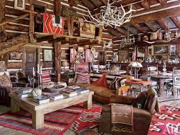 Rustic Western Living Room Decor With Natural Wood Furniture