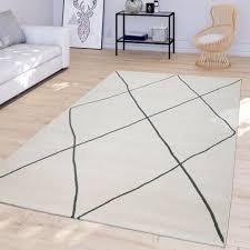 wohnzimmer teppich mit modernem skandinavischem rauten design kurzflor in weiß größe 120x170 cm