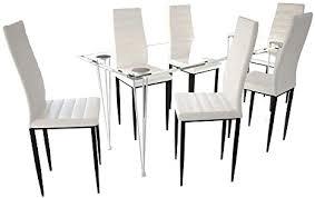 vidaxl essgruppe sitzgruppe esstisch und stühle esszimmerstühle esszimmer möbel hartglas tisch weiß slim line 6 stühle und 1 glastisch