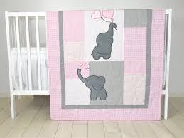 Baby Girl Quilt Elephant Blanket Pink Gray Crib Bedding Safari