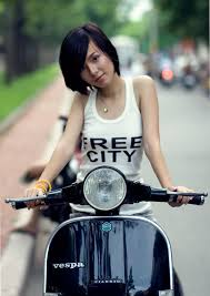 Vespa With Girl