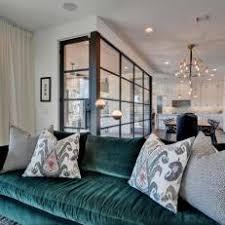 Modern Living Space With Green Velvet Sofa