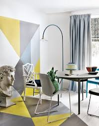 Yellow Dining Room 20 Opt For A Bold Pain Technique Over Wallpaper Like This Striking Geometric Grey And