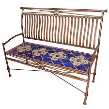 Mexican Tile Tucson Arizona by Large Iron Bench With Talavera Tiles Blue
