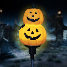 Halloween Yard Stake Lights by The Holiday Aisle Solar Rotating Pumpkins Garden Stake U0026 Reviews