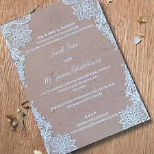 Vintage Lace Wedding Day Invitation