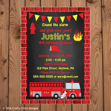 Fire Truck Birthday Party Invitations | Crafty Chick Designs