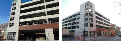 Two exterior views of the U Square at the Loop parking garages 4