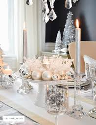 White Cakestand Silver Christmas Ornaments Centerpiece Tablescape