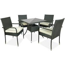 Patio Dining Set 5pc Rattan Wicker Table 4 Chairs Seat ... Oak Ding Table 4 Chairs Tanner Fniture Designs Flore Stream With Modern White Round For Kitchen Room Coffee Leisure 5 Pieces White Table Chair Rovicon Warwick Grey Extending Burke Inc Mid Century Saarinen Style Tulip Set Stockholm Stainless Steel Legs Rokane Brown 6 Pc Rect Drm Ext Uph Bench Game Features Games Wood Tk Classics Square Normandy Julian Bowen Aspen Pine
