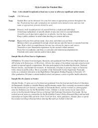 Style Guide For Student Bios Note
