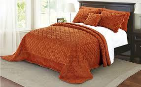 Amazon Serenta Faux Fur Quilted Tatami 4 Piece Bedspread Set