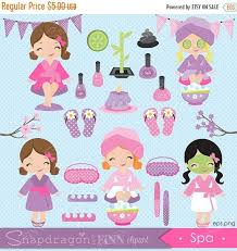 SALE Spa Party Clipart Girls By Snapdragonandfinn
