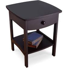 winsome trading curved 1 drawer nightstand end table walmart com