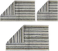 cawö badteppich 60 100 cm 7048 37 lifestyle streifen badteppiche wende badteppich multicolor dunkel kiesel 100 gekämmte baumwolle l b ca 100 60 cm