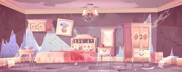 altes schmutziges schlafzimmer im shabby chic stil