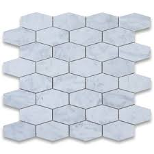 Usa Tile And Marble Corp by Stone Center Carrara White 1 1 4x3 Elongated Hexagon Mosaic Tile