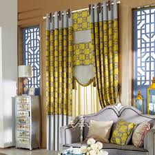 100 Cotton Gold Gray Living Room Geometric Curtains
