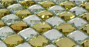 Mirror Tiles 12x12 Gold by 12x12 Inch Colorful Diamond Faceted Home Decor Backsplash Beveled