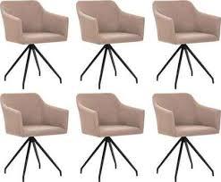 589 99 vidaxl esszimmerstühle drehbar 6 stk taupe stoff