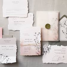 Luxury wedding invitations with straight edge or natural torn