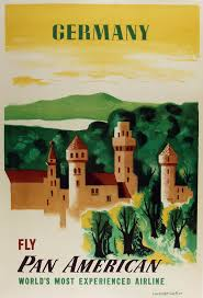 Original Germany Fly Pan American Poster By E McKnight Kauffer C1949