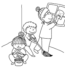 Kindness Is Helping Mother Cleaning House Colouring Page Coloring