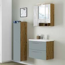 design badezimmer set in graugrün und wildeiche optik 90 cm breit 3 teilig