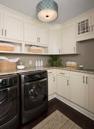 Use A Flush Mount Light With Drum Shade To Brighten Laundry Room Photo
