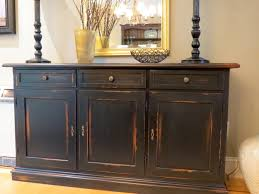 Distressed Black Wood Custom Made Gallery And Living Room Buffet Cabinet Pictures