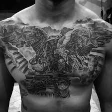 Awesome Guys Mexican Eagle Shaded Black And Grey Ink Tattoo Design On Upper Chest