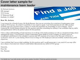 Great Sample Cover Letter For Team Leader Position Images
