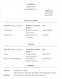 Sample Acting Resume No Experience Resumes For Beginners Unique Template Ideas On Free