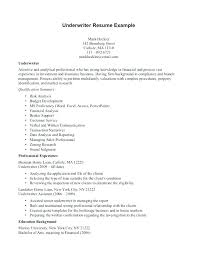 Warehouse Assistant Cover Letter Underwriter Sample Insurance Resume Ideas General