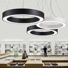 Modern Office Led Circle Pendant Lights Round Suspension Hanging Lamp Ring Chandelier Lighting Stainless Steel Light From