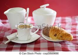 Coffee Croissant Milk Jug And Sugar Bowl