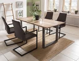 esszimmer essgruppe mit 4 stühlen esstisch komplettset echter baumkante akazie silber